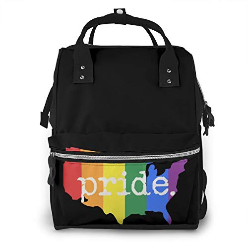 Pride Gay Flag American Map Baby Diaper Bag Backpack,Multi-Function Waterproof Large Capacity Travel Nappy Bags For Mom
