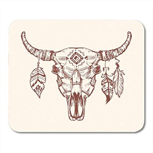 AOHOT Mauspads Skeleton Aztec Tribal Buffalo Skull Tattoo Dead Animal Cow Totem Feathers Western Mouse pad 9.5
