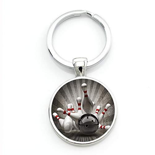 Inveroo Exquisite Bowlingkugel Kunst Bild Glas Edelstein Schlüsselbund Casual Sports Style Männer Frauen Schlüsselanhänger Ring Schmuck