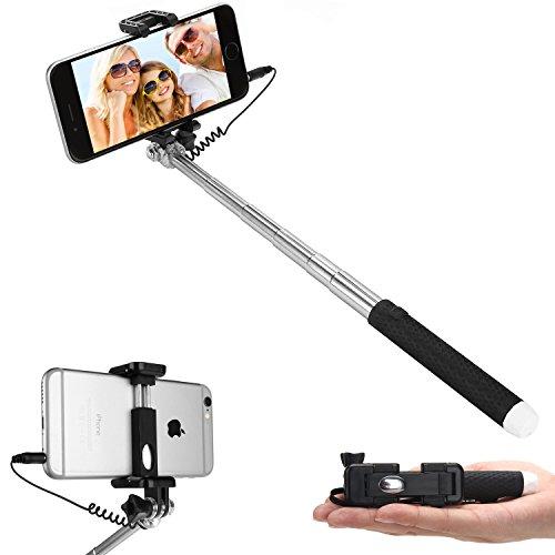 Bastone Selfie, Bestwe Selfie Stick Monopiede Selfie Mini sienenon monopiede allungabile haifischtech (no Bluetooth) con morsetto regolabile per smartphone, iPhone, Samsung, Huawei, LG, Sony nero