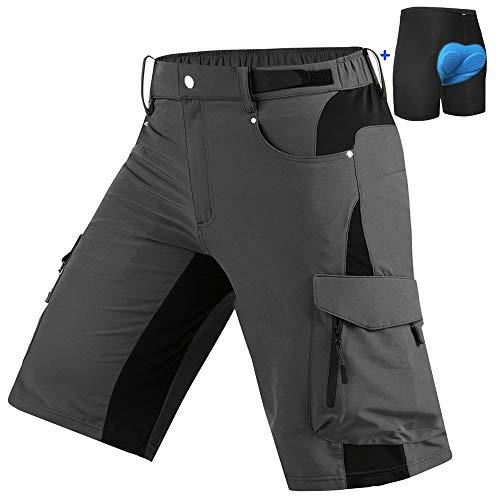 Cycorld Mountain-Bike-Shorts-Mens-Padded MTB Biking Baggy Cycling Short Removable Padding Liner Grey