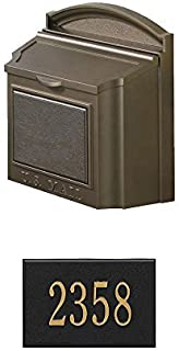 Whitehall Wall Mounted Locking Mailbox (French Bronze) w/Mailbox Number Plaque