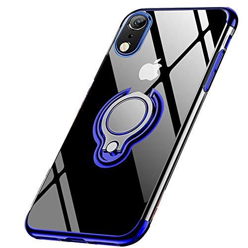 jaligel iPhone XR Hülle 360 Grad Drehbar Ringhalter Hülle(Arbeiten Sie mit Magnetischer Autohalterung) Ultra Dünn TPU Bumper Hülle Soft Silikon Schutzhülle Stoßdämpfung Anti-kratzt Handyhülle - Blau
