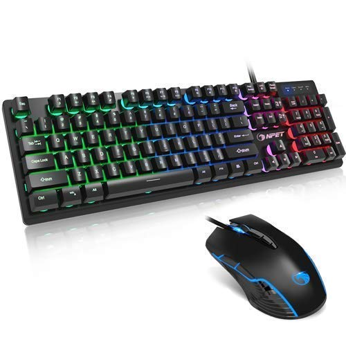 NPET Gaming Keyboard and Mouse Bundle, Backlit Wired Ergonomic Keyboard, LED Lighting Mouse with 7200 DPI for Windows Computer Gamers