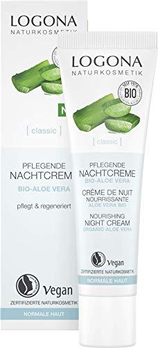 Bio Nachtcreme von LOGONA Naturkosmetik für intensive Feuchtigkeit mit Bio Aloe Vera & Shea Butter, Natürliche Gesichts-Creme bei trockener Haut für die Nacht, Vegane Pflege, 30ml