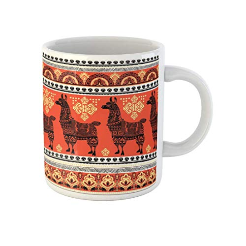 offee Mug Chile Cute Alpaca Llama Animal Ethnic Ornaments Pattern Peruvian Ceramic Tea Cup Mugs Best Gift Or Souvenir for Family Friends Coworkers