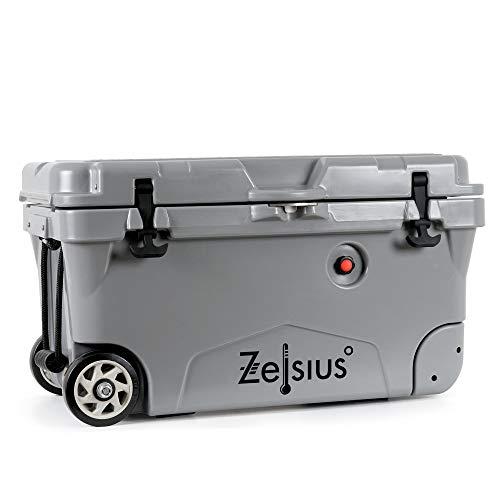 Zelsius Nevera Portátil con Ruedas I Isotérmica I 50 litros I Termobox I Rígida I Calor y Frio I Coche I Camping I Vacaciones I Pesca I Playa (Gris)