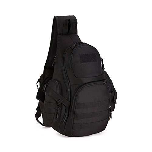 Huntvp Slingbag Taktisch Brusttasche Militärisch Schultertasche Molle Crossbody Bag Wasserdicht Umhängetasche Daypack Sling Tasche Alltagstasche Dreieck Pack - Schwarz