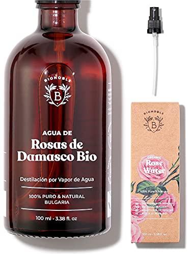 AGUA DE ROSAS ORGÁNICA | Tónico de Agua de Rosas de Damasco 100% Puro y Natural | Cara, Contorno de Ojos, Cuerpo, Cabello | Botella de Vidrio + Spray (100 ml)