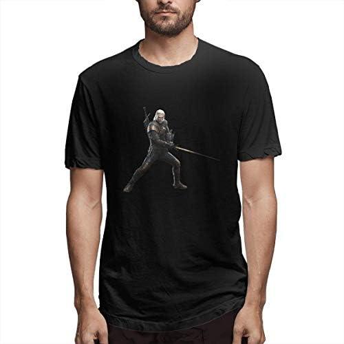 Hombre Personalizado Sudor Monster Hunter World Witcher 3 Geralt Manga Corta Camiseta Negra