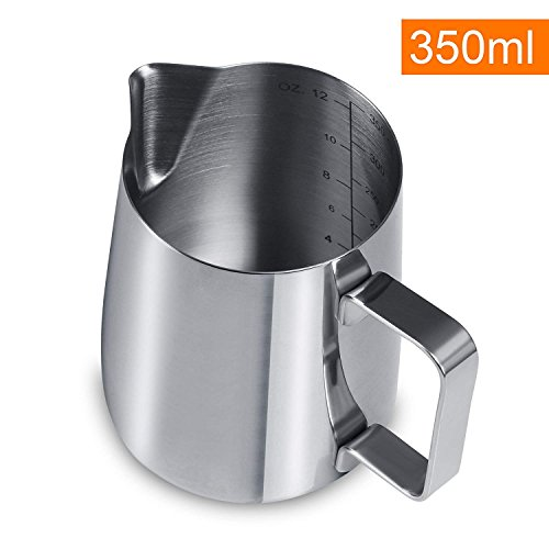 Gwhole 350ml/12oz Bricco da Latte Lattiera per Cappuccino in Acciaio Inox