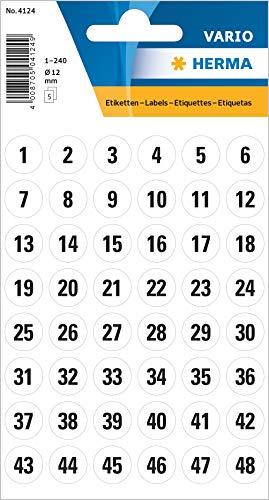 HERMA 4124 Zahlen Aufkleber 1 - 240, rund (Ø 12 mm, 5 Blatt, Papier, matt) selbstklebend, permanent haftende Zahlen Sticker, 240 Etiketten, weiß