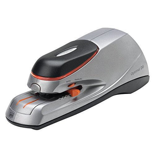 Rexel Optima 20 Electric Stapler Silver/Black - Electric STAPLERS (Front, Detachable, AC/Accu, Black, Silver, Type G (UK), AA)