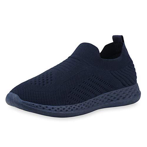 SCARPE VITA Damen Sportschuhe Slip On Sneaker Fitness Schuhe Strick Laufschuhe Training Gym Joggingschuhe 189335 Dunkelblau Blau 41