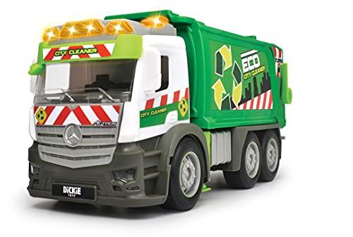 Dickie Toys- Camión de Basura de Juguete 26cm Marca Mercedes, Con Luz y Sonido, Fricción, Incluye Contenedor, Adecuado a Partir de 3 Años, Color (203745014)