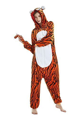 emmarcon Pijama Animal Kigurumi Mono Completo Disfraz Carnaval Halloween Cosplay, Unisex Adulto Tigre XL/Altura 180-189 cm, Máximo 125 kg.