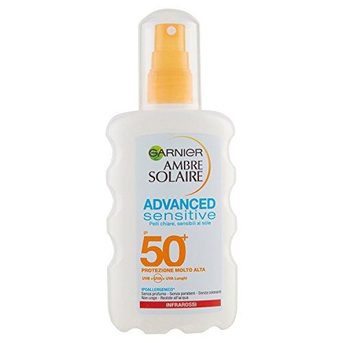 Garnier Ambre Solaire Advanced Sensitive Protezione Solare Spray Protettivo, Effetto Pelle Asciutta, IP 50+, 200 ml