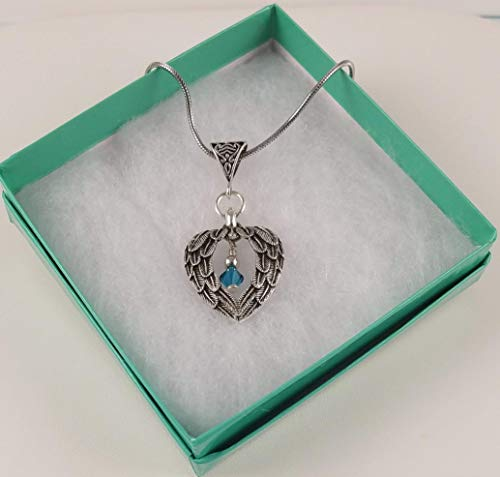 Swarovski Crystal Guardian Angel Double Wing Heart Pendant Necklace with Teal Crystal Dangle - Ovarian Cancer Awareness