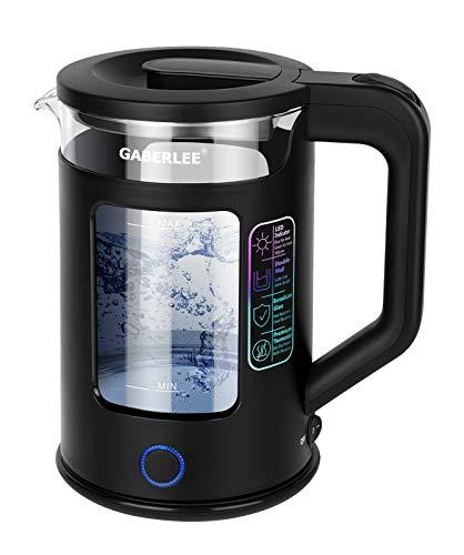 Wasserkocher, 1,7 Liter, 3000 Watt, BPA-frei elektrischer Glaswasserkocher mit LED-Beleuchtung, Abschaltautomatik, Trockenlaufschutz, Warmhaltefunktion und Edelstahl 360°-Sockel, Schwarz