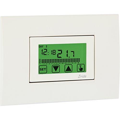 Vemer kamerthermostaatklok VE457800 Iride 230 weekprogrammering inbouwmontage klok thermostaat met multicolor achtergrondverlichting en touchscreen bediening