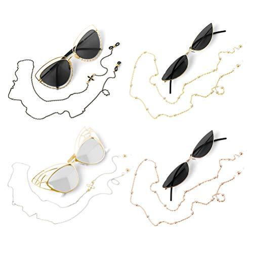 WOWOSS 4 Stück Brillenkette, Brillen Kette Schnur Brillenhalter für Sonnebrillen Lesebrillen Brillen Brillenband Brillenhalskabel Gläser Halskette mit Rutschfeste Kieselgelschnallen für Damen Geschenk