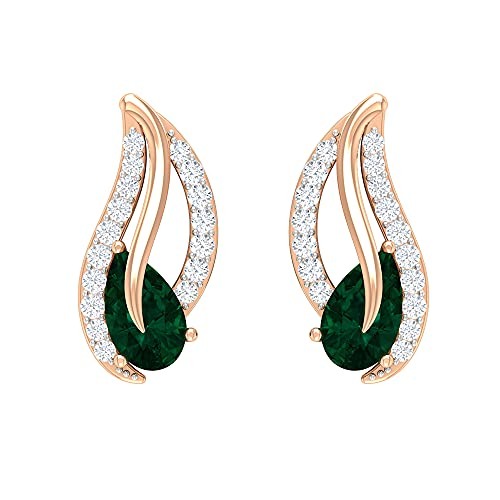 Pendientes de 3/4 CT hoja con turmalina verde y diamante, modernos pendientes para mujer (5 x 3 mm, turmalina verde corte pera), 14K Oro rosa, Par