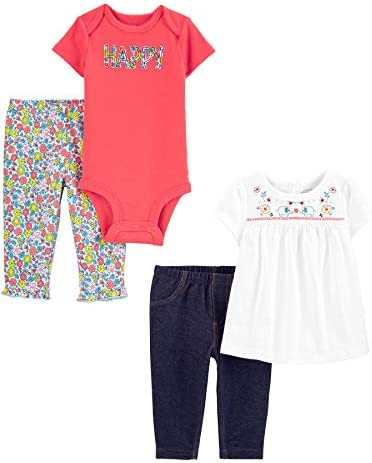 Simple Joys by Carter s Girls 4 Piece Bodysuit Top and Pant Set happy floral 12 Months product image