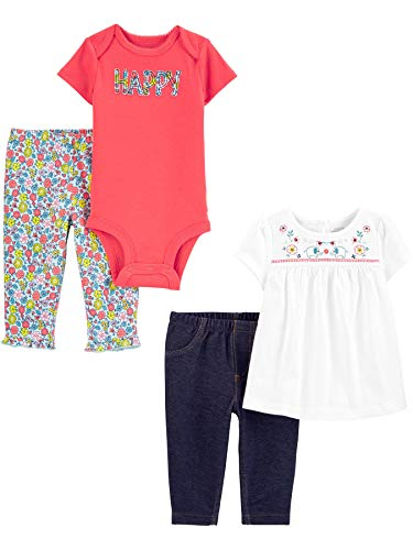Simple Joys by Carter's 4-Piece Bodysuit, Top, Infant-and-Toddler-Pants-Clothing-Sets, Happy/Floral, 0-3 Monate, 4er-Pack