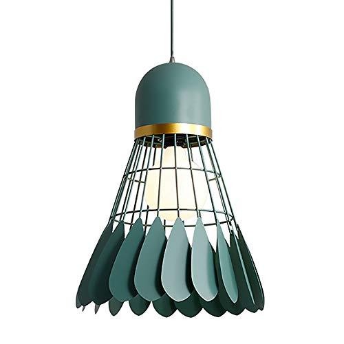 Modern Badminton Pendelleuchte Einfache Federball Kronleuchter Lampenschirm E27 Deckenlampe Hängelampe für Innen Schlafzimmer Wohnzimmer Küche Esszimmer Flur Deko (Mehrfarbig optional) (Green)