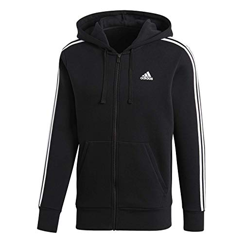 adidas Men's Essentials 3-Stripe Full Zip Fleece Hoodie