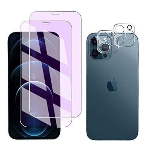 FiiMoo Protector de Pantalla Compatible con iPhone 12 Pro MAX Anti luz Azul Vidrio Templado/Protector de Lente de Cámara, [2+2 Pack][Alivie la Fatiga Ocular] [Anti Blue Light]