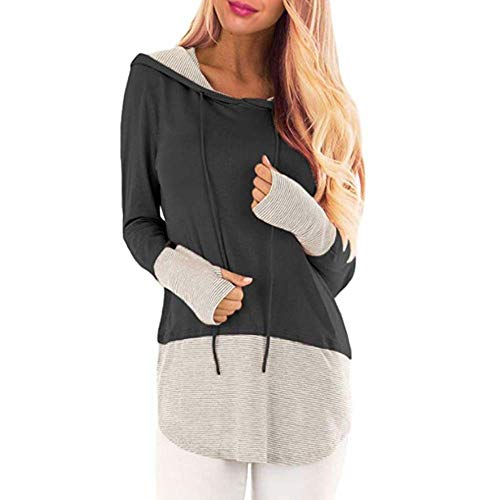 Herbst- Und Wintermode Loose Pullover Stitching Color Drawstring Hooded Sweater Ladies