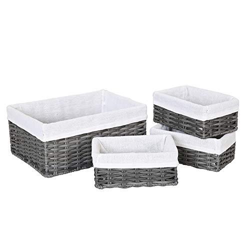 HOSROOME Handmade Wicker Storage Baskets Set Woven Decorative Organizing Nesting Baskets for Bedroom BathroomSet of 4Grey