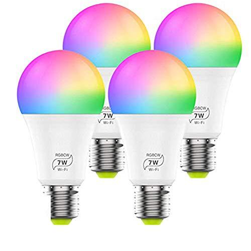 4 Pack Smart Lampen Alexa WiFi Wlan Glühbirne E27,RGB CCT Alexa Echo Licht Lamp Hub erforderlich,Dimmbare 7W Smart Glühbirne, kompatibel mit Alexa Google Home Siri Aisirer IFTTT