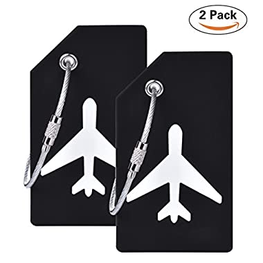 2Pcs Black Silicon Travel Luggage Tags Suitcase Luggage Bag Tags, Travel Airlines Baggage ID Name Label