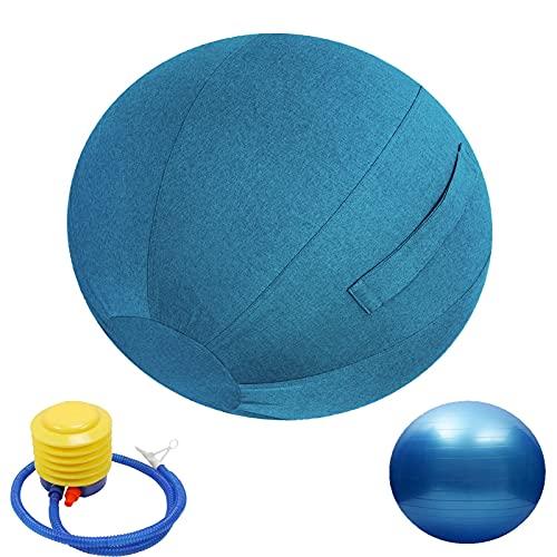 LYQCZ Fitness Pelota, BalóN De Ejercicio Anti-ExplosióN Pelota De Yoga con Bomba, Gruesa, Antipinchazos, Pilates, Deporte, En La Oficina, En Casa O En El Gimnasio(Color:Blue Blue,Size:65cm)