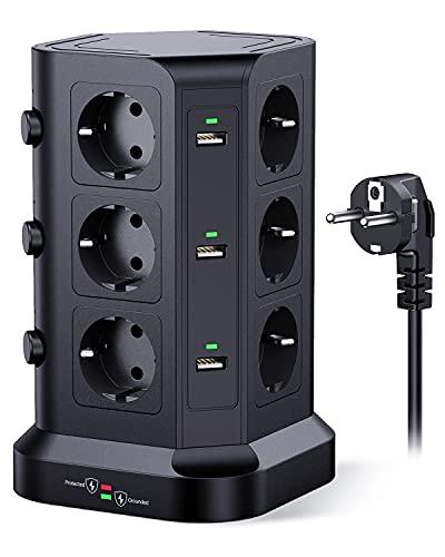 KOOSLA Regleta enchufes proteccion sobretension(4000W 16A), Regleta Vertical con 12 Enchufes y 6 USB-A, Regleta Vertical Torre Enchufe con 3 interruptores Individuales, 2M Cordón, Negro
