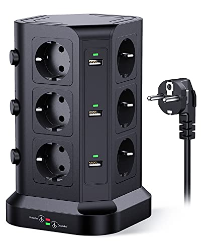 KOOSLA Regleta enchufes proteccion sobretension(4000W/16A), Regleta Vertical con 12 Enchufes y 6 USB-A, Regleta Vertical Torre Enchufe con 3 interruptores Individuales, 2M Cordón, Negro