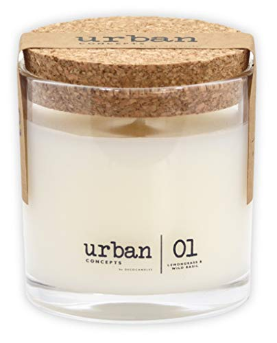 Urban Concepts by DECOCANDLES | Tranquility - Lemongrass & Wild Basil - Highly Scented Candle - Long Lasting - Hand Poured in The USA - Signature Scent for The Amanyara Resort Turks & Caicos - 6.7 Oz.