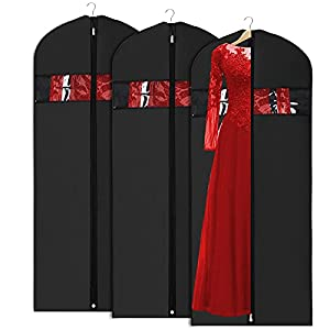 Univivi Garment Bag Suit Bag for Storage and Travel 60 inch, Lightweight Sturdy Full Zipper Washable Suit Cover for Dresses, Suits, Coats, Set of 3