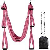 UpCircleSeven Aerial Yoga Swing Set - Yoga Hammock/Sling Kit + Extension Straps & Guide - Inversion Swing for Beginners & Kids - Ceiling Hanging Yoga Sling (Pink)