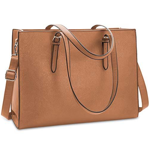 NUBILY Handtasche Shopper Damen Große Schwarz Handtasche Leder Umhängetasche Arbeitstasche Gross Laptop Business Schule Taschen 15.6 Zoll Braun