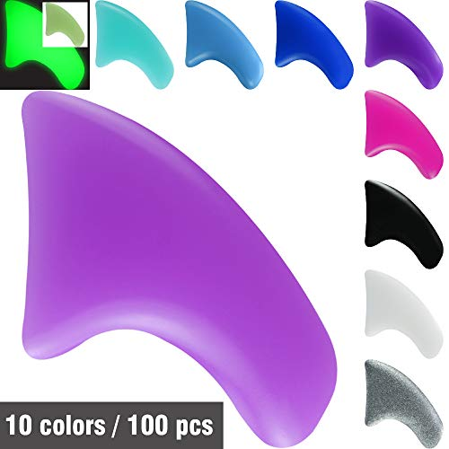 MiiOUU 100 pcs / 10 Colors Cat Claw Caps Covers for Cats Nail Claws with Adhesives and Applicators (M)