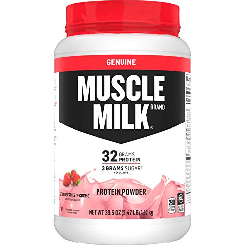 Muscle Milk Genuine Protein Powder, Strawberries 'N Creme, 32g Protein, 2.47 Pound, 16 Servings