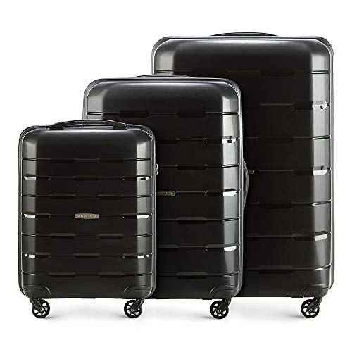 WITTCHEN Koffer-Set 3tlg Koffer Reisekoffer   Schwarz   78x31x55   Kapazität: 101L   Gewicht: 10.5kg 56-3T-72S-10