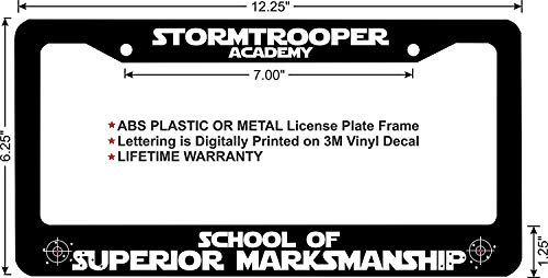 LOHIGHH Star Wars Stormtrooper School of Superior Marksmanship Custom License Plate Frame Black Metal 12' X 6'