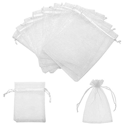 5x7 Inches Organza Bags 100Pcs Drawstring Jewelry Gift Bags Mesh Pouches for Wedding Party Favors Christmas Gifts Candy bags, White