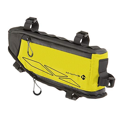 M-Wave Rough Ride Triangle Bolsa Triangular para Cuadro de Bicicleta, Color Amarillo neón, Unisex Adulto, ca. 42x14-25 cm