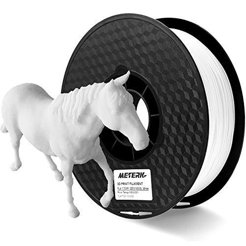 Filamento de la Impresora 3D, Meterk Filaments for 3D Printer Material de Impresión ABS PLA 1kg/2.2LBS 3D Printing Filament Cable de Impresión 3D 1.75 mm 1 kg Blanco