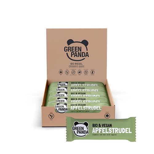 GREEN PANDA® Vegane Riegel ohne Zucker Zusatz | 12 x 30g Bio Energy Bar APFELSTRUDEL | Fruchtriegel mit 5 natürlichen Zutaten